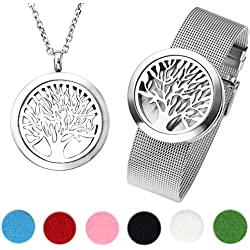 JOVIVI Edelstahl Aromatherapie Ätherische Öle Diffusor Halskette Armband Baum des Lebens Medaillon Locket Anhänger Armreif Schmuck-Set