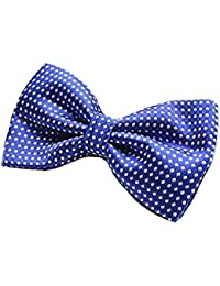 Royal Blue & White Polka Dot Mens Stylish 2 Layer Bow Tie With Adjustable Strap