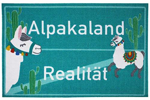 Close Up Fußmatte Alpakaland/Realität - lustiger Fußabtreter - 60x40 cm - türkis grün