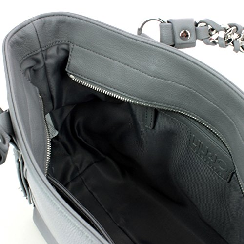 BORSA SPALLA LIUJO NERO shopping con zip lavandalarg 36cm alt 30 cm alt manico 20 cm silver filigree