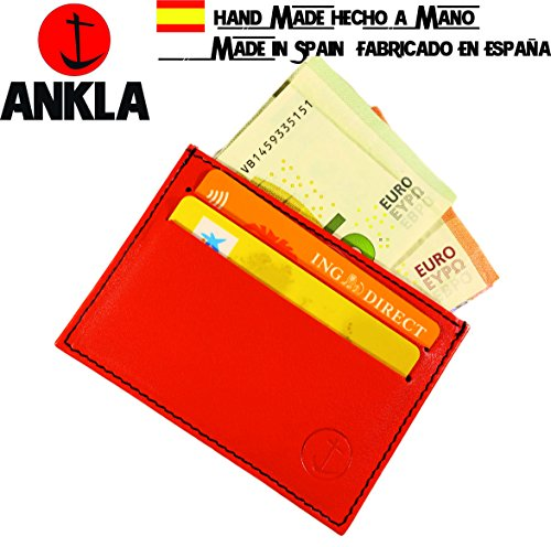 Zoom IMG-1 portafoglio in pelle rosso tramontana