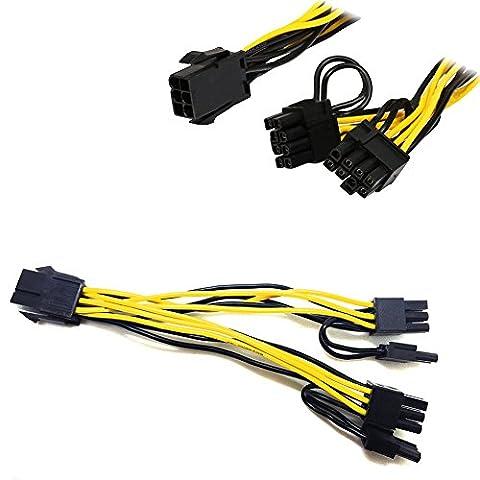 PCI-E 6broches vers 2x 6+ 2broches (6broches/8broches) câble répartiteur d'alimentation PCIe PCI Express
