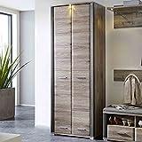 e-combuy Möbel Garderobenschrank San Remo Eiche, Schiefer, 2 Türen, 2 Schubladen, 5 Einlegeböden, 1 ausziehbare Kleiderstange, inkl. LED-Beleuchtung, Breite 75 cm, Höhe 200 cm, Tiefe 42 cm