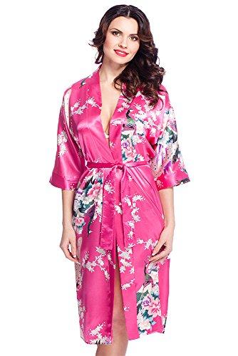Edler Morgenmantel Kimono aus Satin lang Größen S-XXL (M, VA58/Pink)