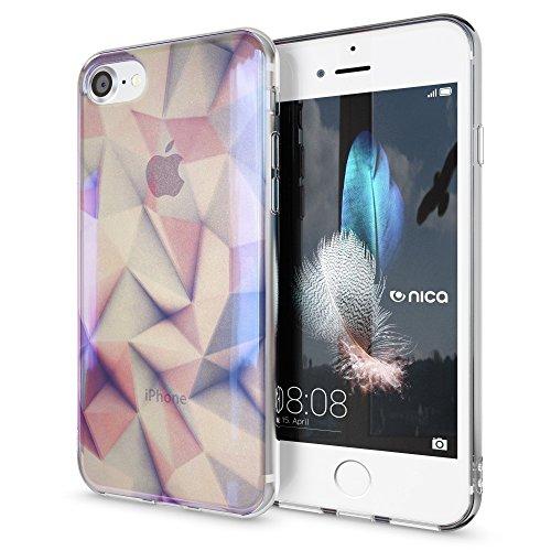 iPhone 8 / 7 Hülle Handyhülle von NICA, Slim Glitzer Silikon Motiv Case Crystal Schutz Dünn Durchsichtig, Handy-Tasche Back-Cover Transparent Bumper für Apple iPhone-7 / 8, Designs:Colored Bokeh Pastel Geometry