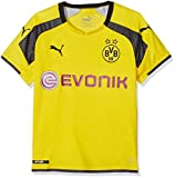 PUMA Kinder Trikot BVB international Replica Shirt with Sponsor Logo, Cyber Yellow-Black, 176