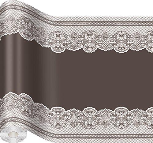 Tischläufer aus Tissue Barock Muster braun / Fest / Feier / Geburtstag 480 x 33cm