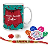 Indigifts Crystal Rakhi , World's Coolest Brother Quote Printed Sea Green & White Mug 330 Ml, Roli, Chawal & Greeting Card For Men/Boys