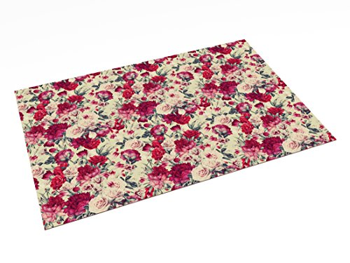 Printodecor 0017-657968874404 Alfombra Vinílica Impresa con Diseño Vintage, Plástico y PVC, Multicolor (Floral Red Romance), 143 x 97 cm