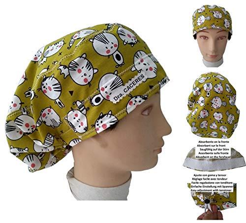 Chirurgie-Kappe KÄTTEN Frauen für lange Haare, Chirurgie, Zahnarzt, Tierarzt, Küche, etc. Handtuch vorne, hinten verstellbar mit Spanner. Bedecke alle Haare. Angepasst mit Namen, in Optionen