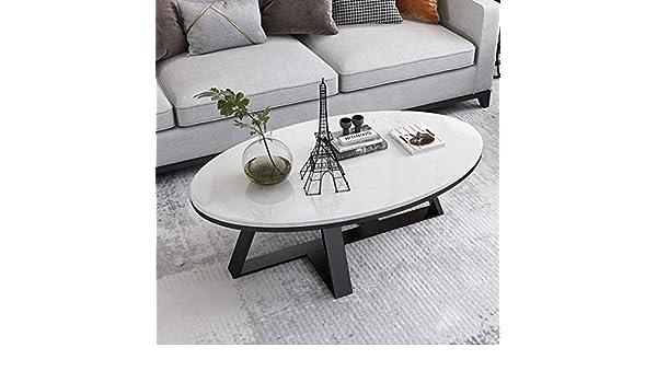 Moderno Ovale Bianca Top in Marmo Tavolino da caffè con Base