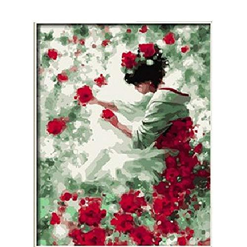 umbers Ölgemälde nach Zahlen Zeichnung auf Leinwand Home Decor Bilder für Wohnzimmer Wand Flower Fairy Dekoration P-0806,Rahmenlos,50X65cm ()