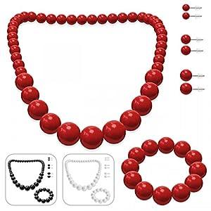SoulCats® Schmuckset, Perlenkette, Perlenarmband und 3 Paar Ohrstecker
