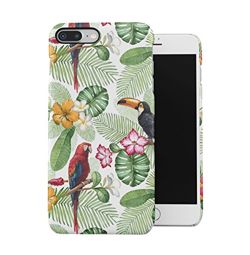 Tropical Hibiscus Flower & Flamingo Birds Pattern Apple iPhone 7 Snap-On Hard Plastic Protective Shell Case Cover Custodia Amaryllis & Parrots