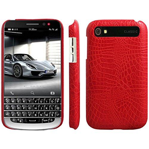 HualuBro BlackBerry Classic Hülle, [Ultra Slim] Premium Leichtes PU Leder Leather Handy Tasche Schutzhülle Case Cover für BlackBerry Classic Q20 Smartphone (Rot)