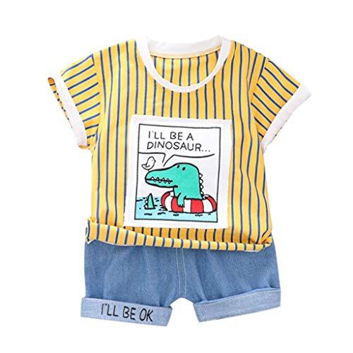 Sannysis 2tlg Baby Jungen Bekleidungssets Strampler Gentleman Sommer Krokodil Streifen Druck T-Shirt Top + Jeansshorts Outfits ()