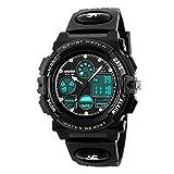 Amstt Unisex Sport Kinderuhren Jungen Mädchen Digital Wasserdichte Alarm Armbanduhr für das Alter 7-15 Jahre alt Kinder (Schwarz)