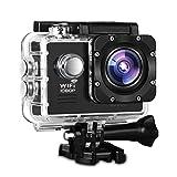 Action Camera, Fivanus WIFI Action Cam Novatek NT96655 Full HD 1080P 14MP 170° Grandangolare 2' Schermo LCD Impermeabile a 30m Sports Camera Fotocamera Videocamera Digitale Cam con 2 Batterie e Kit Acessory Inclusi immagine