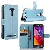 Guran Housse En Cuir pour Asus ZenFone 2 Laser ZE550KL (5,0 pouces) Smartphone Flip Cover Etui Debout Fonction et Fente Porte-cartes Cas-bleu