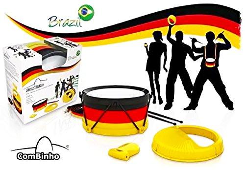 Brazil ComBinho Trommel Deutschland - Fanartikel Fussball Weltmeister Bundesliga Stadion - WM Brasilien – Trommel Rassel Ratsche Pfeife - Fasching Karneval Fastnacht (Basketball-stadion)