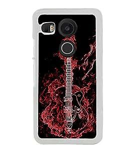 PrintVisa Designer Back Case Cover for LG Nexus 5X :: LG Google Nexus 5X New (Creative Electric Guitar With Fire Illustration)