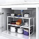 HOMFA Etagère de Cuisine en Acier Inoxydable Rangement Organisation pour Cuisine Meuble évier Etagère Ajustable Modulable (Type-2)