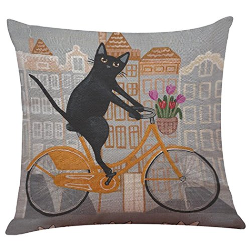Satin-streifen-shell (Cute Fahrrad Cat Print Kissenbezüge, ubabamama Sofa Bett Kissen Fall Shell Displayschutzfolie Home Dekoration colorful Kissenbezug)