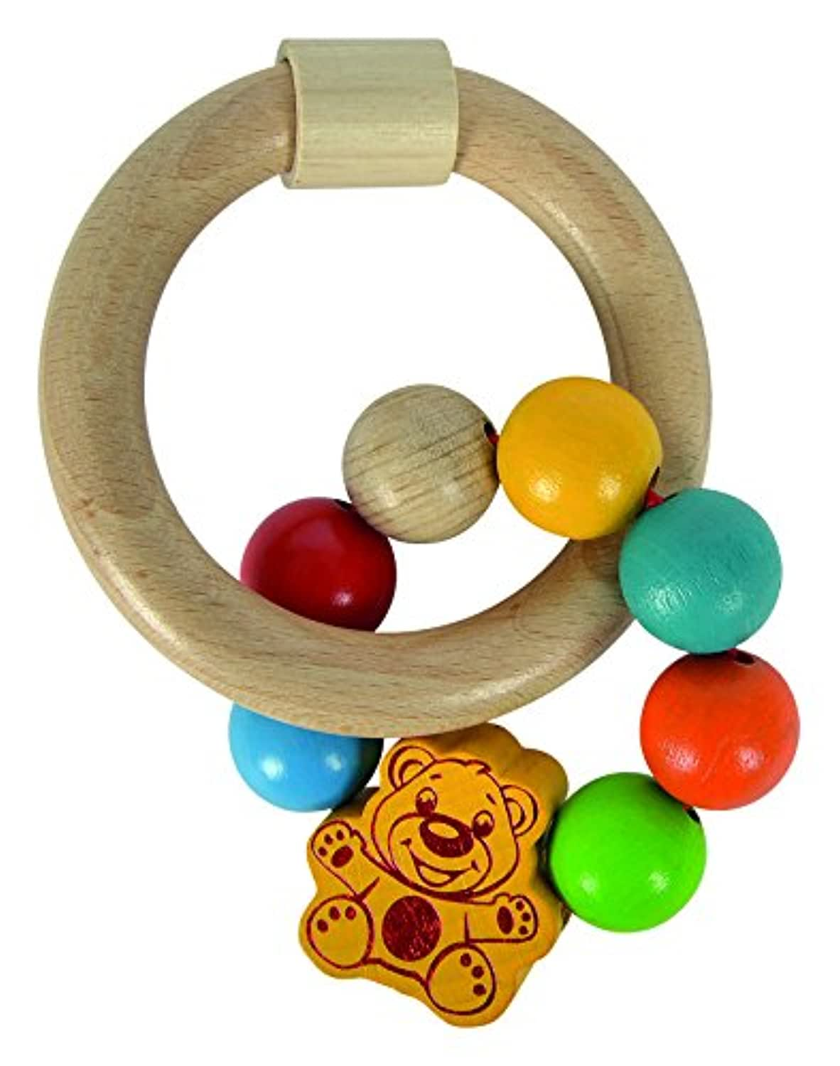 Simba Baby Teether, 2 designs, Heros 100017063 Bright - Bear Design - Beechwood - Clutching Toy - Made in Germany
