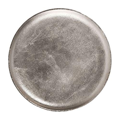 Butlers Banquet Vintage Dekoteller Ø 35cm - Servierteller in Retro Optik aus Aluminium silbern vernickelt - Kerzenteller