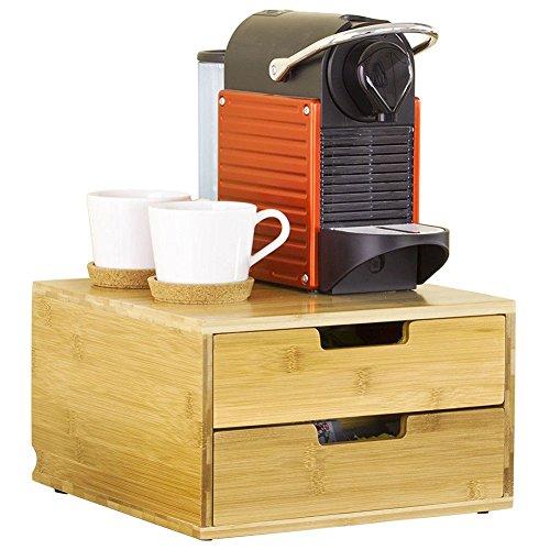 Bakaji portacapsule contenitore doppio cassetto porta cialde capsule nescpresso dolcegusto modomio caffe lavazza bustine tè zucchero realizzato in legno di bambù 2 cassetti organizer bamboo 31 x 30,5 x 18 cm