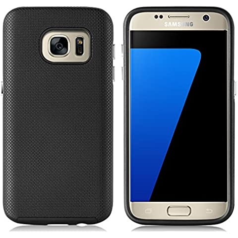 [ Samsung Galaxy S7 Case ] - Funda LIGHTWAVE JammyLizard De De Alta Resistencia Doble Capa Ligera, NEGRO