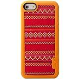 VACII AVC1311AE16 Premium Silikon Schutzhülle mit Echtstoff Rückseite für Apple iPhone 5/5S NativeArt Red