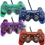 Manette Filaire pour PS2 Playstation 2 Dual Shock (Lot de 4, Rouge, Bleu, Vert,...