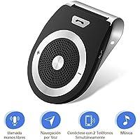 LOETAD Bluetooth Manos Libres Coche Kit Reducción de Eco y Ruido de Fondo para la Visera Soporta GPS universal Música Altavoz Inalámbrico para Teléfonos Móviles Conectar dos teléfonos