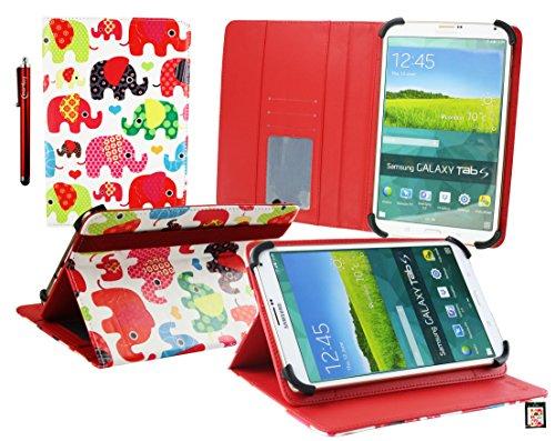 Emartbuy® BigBen Unity Tab 7 Tablet PC 7 Zoll Multifarbig Elefanten Multi Angle Exekutiv Folio Mappen Kasten Abdeckung mit Kartensteckplätze + Eingabestift