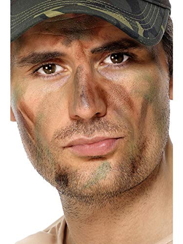 Fancy Ole - Kostüm Accessoires Zubehör Armee Militär Make Up Schminke mit Pinsel, perfekt für Karneval, Fasching und Fastnacht, Grün