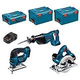 Kit Bosch PSL3P2W (GSA 18 V-LI + GST 18 V-LI + GKS 18 V-LI + Ladegerät AL1860CV + 2 Akkus 5,0 Ah + Koffer L-Boxx 136 + 2 x Koffer L-Boxx 238)