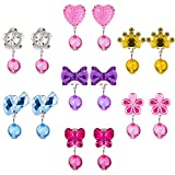 7 Pairs Crystal Clip on Earrings Girls Princess Jewelry Earring and 7 Pairs Earrings Pads in Pink Box