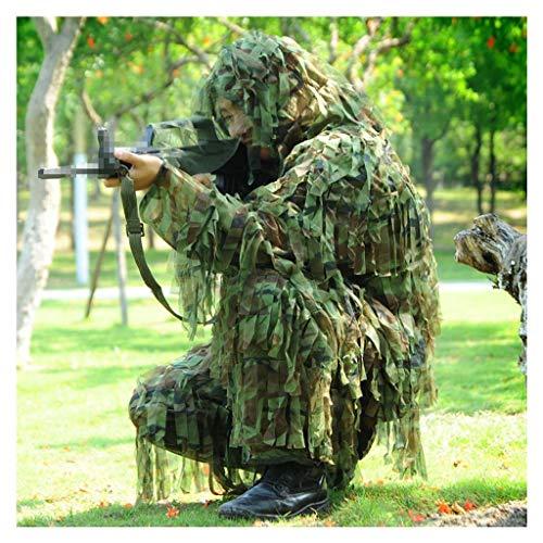 GRZP Ghillie Suit, 3D Camouflage Sniper Woodland versteckte militärische Kleidung und Hose Dschungeljagd Schießen Airsoft Outdoor Wildlife Fotografie Halloween Paintball Spiel Jagd
