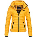 Marikoo SAMTPFOTE Damen Stepp Jacke Daunen Look gesteppt Übergang XS-XXL 11-Farben, Größe:XS;Farbe:Gelb
