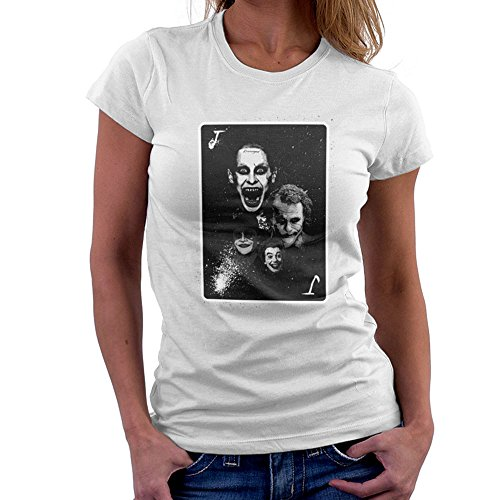 Movie Jokers Collage Batman Suicide Squad Dark Knight Women's T-Shirt White