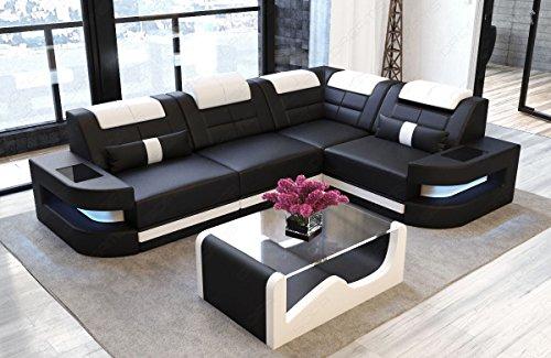 Sofa Dreams Ledersofa Como L Form schwarz-Weiss