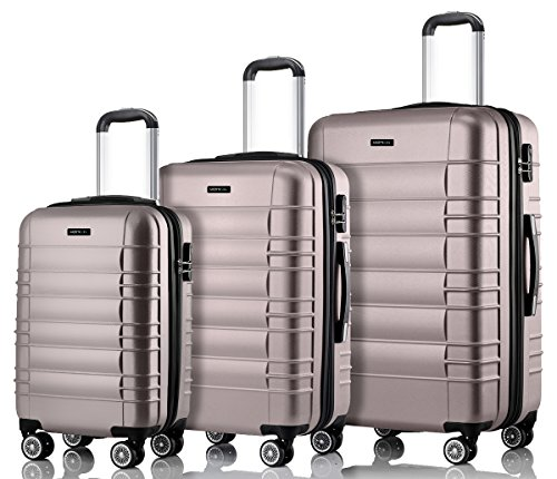 MERISH Reisekoffer Set 4 Zwillingsrollen Hartschale 10 Farben Koffer Kofferset Trolley 001 Platin 3er Set