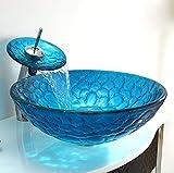 AOSHE Gehärtetes Glas Waschbecken Badezimmer Runde Mittelmeer Stil Single Bowl Fokus Auf Vanity Rig 20 Jahre