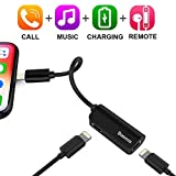 iPhone 7/7Plus Adapter,Baseus Dual Lightning Headphone Audio & Charge & Call Adapter Splitter for iPhone X / iPhone 8 /8 Plus / iPad / iPod Support for iOS 10 ~ iOS 11 and Later (L37 - Black)