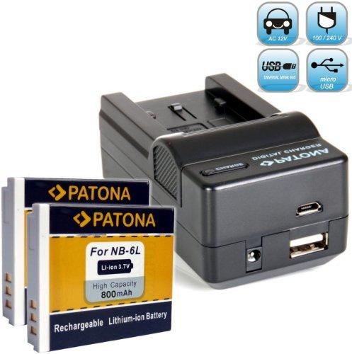Bundlestar Akku Ladegerät 4 in 1 inkl. Ladeschale für Canon NB-6L + 2x PATONA für Canon NB-6L (800mAh !!) - z.B. mit Auto-Adapter, Netzstecker deutsch, USB und - NEUHEIT mit Micro USB-Anschluss !