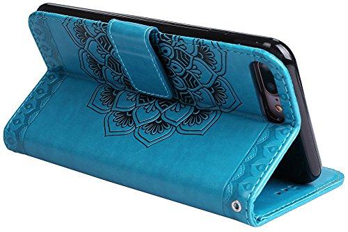 iPhone 7/8 Hülle, Roreikes Premium PU Leder Tasche für iPhone 7/8(4,7Zoll) Brieftasche Handyhülle im Bookstyle mit Kartenfächer Standfunktion Vintage Halbe Blume Muster Schutzhülle Blau