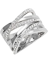 Joop! Damen-Ring Edelstahl Glas weiß Gr. 53 (16.9) - JPRG00005A1