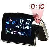 Happy FD Écran LED Horloge Projection LCD Digital Weather Snooze Alarm Clock Réveil Color Noir
