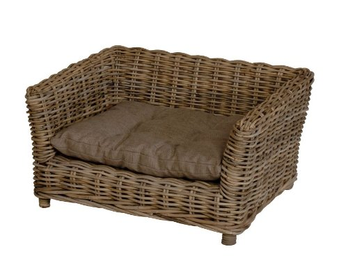 Dog bed / dog basket with cushion / from stable rattan / size medium